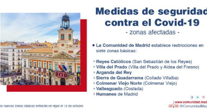 Madrid mantiene restricciones de movilidad en siete puntos que quedan fuera del decreto de Estado de Alarma del Gobierno