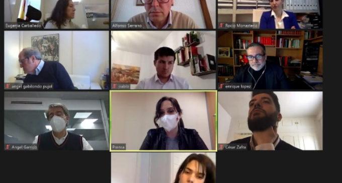 Díaz Ayuso, ha presidido una reunión telemática con los portavoces de la Asamblea de Madrid para abordar la situación de la región tras el paso del temporal Filomena.
