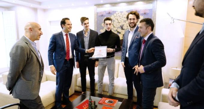 Aguado recibe a los tres taekwondistas madrileños que competirán en Tokio 2020