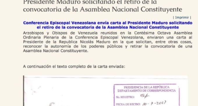 """Venezuela. Los obispos a Maduro: """"retirar la convocatoria de una Constituyente"""""""
