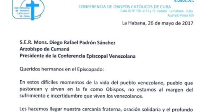 Carta de los obispos de Cuba a la Conferencia Episcopal Venezolana