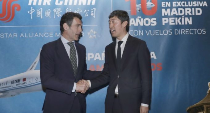 Chaguaceda, en la entrega de premios por el décimo aniversario del vuelo Madrid-Pekín