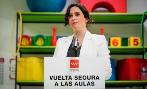 Díaz Ayuso anuncia 9.000 nuevas plazas educativas públicas entre 2020 y 2021 con una inversión de 105 millones