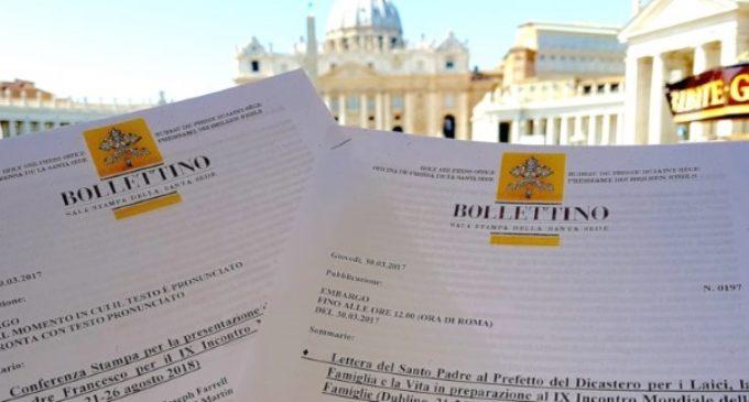 Carta del papa Francisco a los organizadores del IX Encuentro Mundial de la Familia