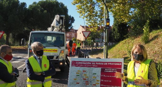 Madrid mejora la seguridad vial de sus carreteras iluminando un centenar de pasos de peatones
