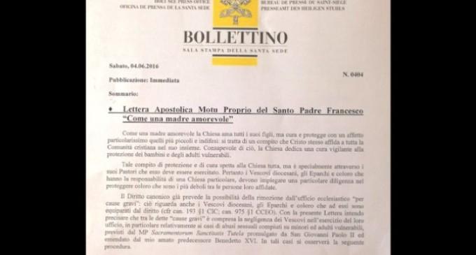 Un nuevo documento del Papa permitirá enjuiciar a obispos negligentes ante casos de abusos