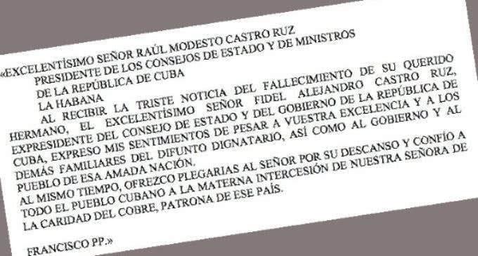 Telegrama del Papa por la muerte del ex presidente cubano Fidel Castro