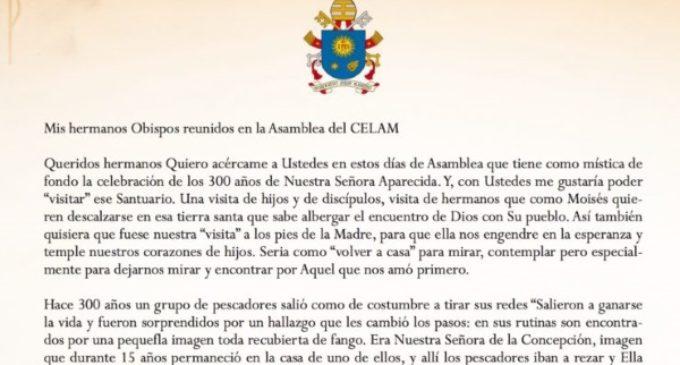 El Santo Padre envía un mensaje al CELAM reunido en plenaria